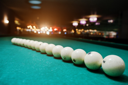 snooker halls: The russian billiards balls on the table in line