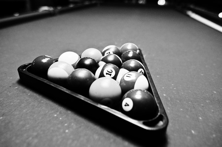 snooker halls: Billiard balls in a pool table at triangle