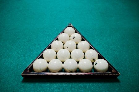 9 ball billiards: The russian billiards balls in triangle