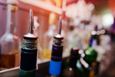corked: Close up bottles of alcohol and liquor at the bar Stock Photo
