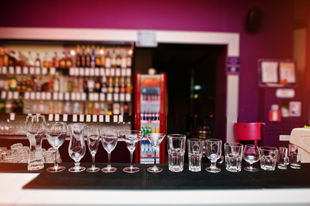drinks on bar: Set of collection cup glasses for bar drinks Stock Photo