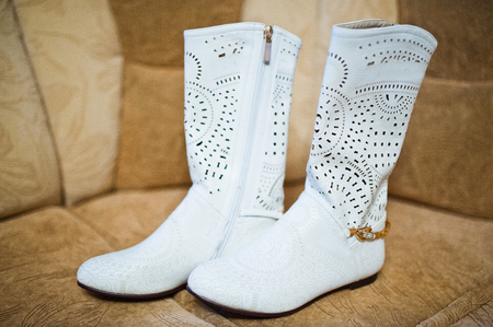 white winter: White winter boots of bride