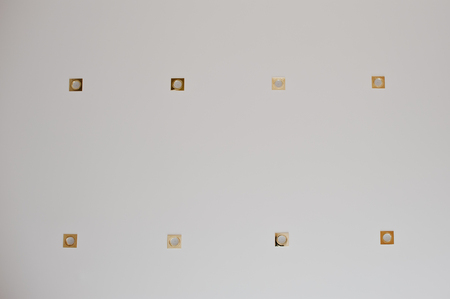 metall lamp: Eight golden lighting lamps built into the ceiling. Spot light at room