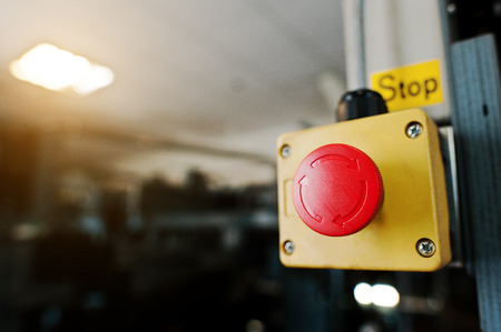 Stop switch in the engine room Stock Photo