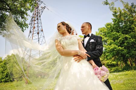 electrical tower: Fashionable wedding couple background electrical tower, long veil of bride.