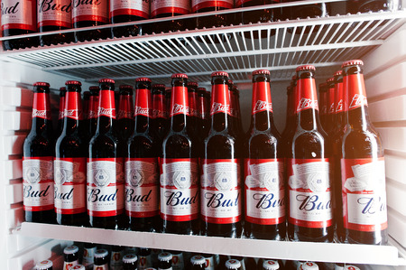 budweiser: KYIV, UKRAINE - MARCH 25, 2016: Bud beer bottles in the fridge.