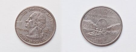 25 cents: Set of coin 25 Cents or Quarter Dollar,2003 USA (Denver) , State of Missouri 1821 Stock Photo