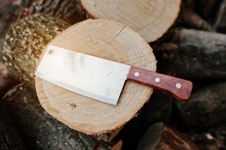 machete: Kitchen hatchet knife machete at stump background chopped firewood.