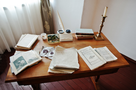 manuscripts: Antique table writer with manuscripts feather pen and ink Stock Photo