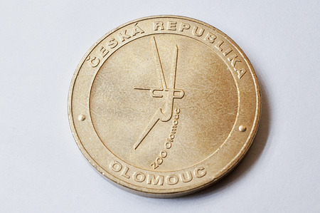czech republic coin: Coin crown (korunas CZK) Czech Republic shows lion from Olomouc Zoo Stock Photo