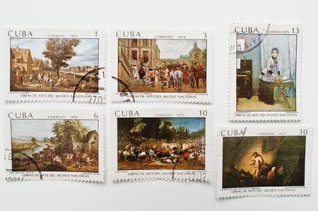 padilla: UZHGOROD, UKRAINE - CIRCA MAY, 2016: Collection of postage stamps printed in Cuba correos shows cubanos painters works, circa 1979