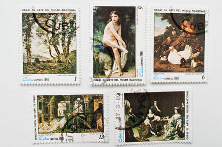 UZHGOROD, UKRAINE - CIRCA MAY, 2016: Collection of postage stamps printed in Cuba correos shows cubanos painters works, circa 1980 Editorial