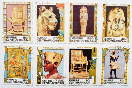 UZHGOROD, UKRAINE - CIRCA MAY, 2016: Collection of postage stamps printed in The Central African Empire, showing the image series of Egyptian Pharaoh Tutankhamun, circa 1978