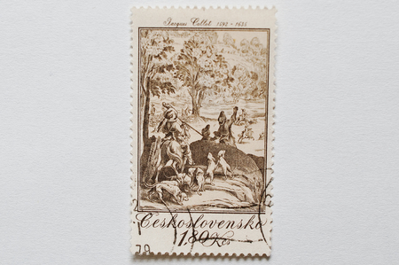 UZHGOROD, UKRAINE - CIRCA MAY, 2016: A post stamp printed in Czechoslovakia shows The Large Hunt, paint work of Jacques Callot, baroque printmaker and draftsman from the Duchy of Lorraine, circa 1979 Editorial