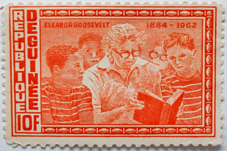 UZHGOROD, UKRAINE - CIRCA MAY, 2016: Postage stamp printed in Guinea republic shows the first Lady of the United States Eleanor Roosevelt (1984-1962), circa 1964