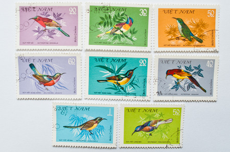postage stamps: UZHGOROD, UKRAINE - CIRCA MAY, 2016: Collection of postage stamps printed in Vietnam shows different sunbird family, circa 1981