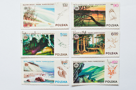 philatelist: UZHGOROD, UKRAINE - CIRCA MAY, 2016: Collection of postage stamps printed in Poland shows different native nature park, circa 1976