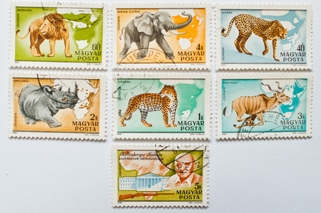 postage stamps: UZHGOROD, UKRAINE - CIRCA MAY, 2016: Collection of postage stamps printed in Hungary shows different wild animals, circa 1981 Editorial