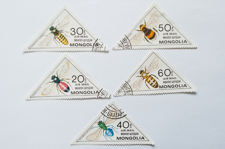UZHGOROD, UKRAINE - CIRCA MAY, 2016: Collection of triangular stamps printed in Mongolia shows the series of wasp and insect, circa 1979