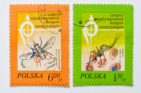 postage stamps: UZHGOROD, UKRAINE - CIRCA MAY, 2016: Collection of postage stamps printed in Poland, shows 4th International Congress Parasitologists (ICOPA IV), circa 1976 Editorial