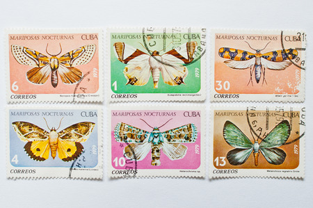 UZHGOROD, UKRAINE - CIRCA MAY, 2016: Collection of postage stamps printed in Cuba, shows different types of butterflies, circa 1979 Editorial
