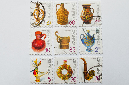 postage stamps: UZHGOROD, UKRAINE - CIRCA MAY, 2016: Collection of postage stamps printed in Ukraine, shows pottery, circa 2000