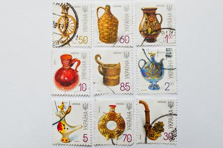 UZHGOROD, UKRAINE - CIRCA MAY, 2016: Collection of postage stamps printed in Ukraine, shows pottery, circa 2000