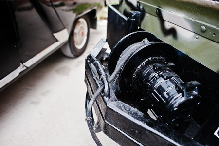 winch: Closeup of winch, offroad equipment at military jeep