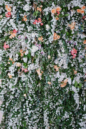 wall decor: Floral decor. Decoration wall of flowers. Florist theme, floral background