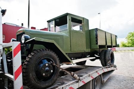 abbreviated: Podol, Ukraine - May 19, 2016: Soviet military truck ZIS-5 V, produced at Zavod Imeni Stalina (Plant of Stalins Name, abbreviated in ZIS or UralZIS) 1944-1955 Editorial