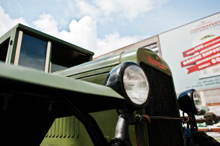 Podol, Ukraine - May 19, 2016: Soviet military truck ZIS-5 V, produced at Zavod Imeni Stalina (Plant of Stalins Name, abbreviated in ZIS or UralZIS) 1944-1955 Redakční