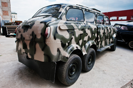 detai: Podol, Ukraine - May 19, 2016: Classic soviet retro car with wo twin wheels at military truck jeep car. Editorial