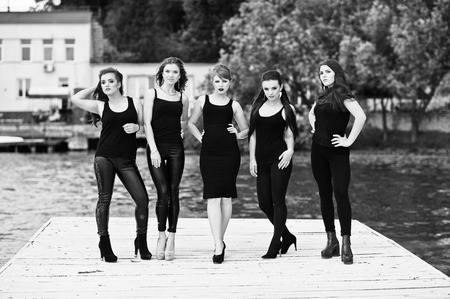 tight dress: Five beautiful young sexy girls models in black tight dress posing on pier. Black and white photo