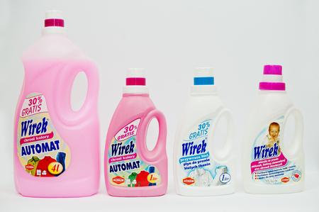 softens: Berezovitsa, Ukraine - circa june, 2016: Set of fabric softener, laundry detergent or fabric conditioner Wirek Editorial