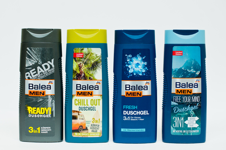 balea: Berezovitsa, Ukraine - circa june, 2016: Set of shower gel Balea men Editorial