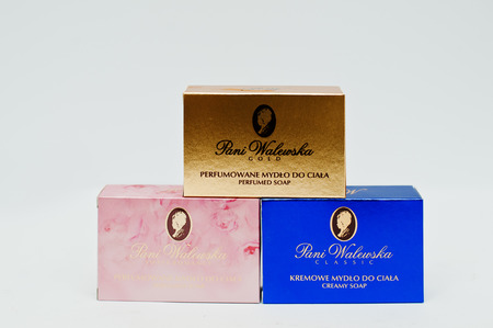 pani: Berezovitsa, Ukraine - circa june, 2016: Set of perfume soap Pani Walewska from Poland