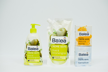 balea: Berezovitsa, Ukraine - circa june, 2016: Set of hypoallergenic liquid soap Balea Creme Seife Sensitive Editorial