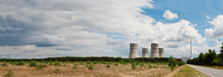cooling towers: Large panorama of nuclear power station. Tops of cooling towers of atomic power plant