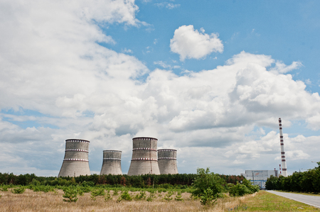 cooling towers: Nuclear power station. Tops of cooling towers of atomic power plant Stock Photo