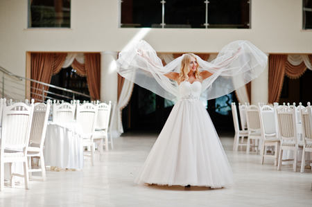 rubia ojos azules: La novia elegante ojos azules rubia de moda en el gran sal�n de la boda con el velo largo en el aire