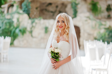 rubia ojos azules: La novia elegante ojos azules rubia de moda en la gran sala de bodas Foto de archivo