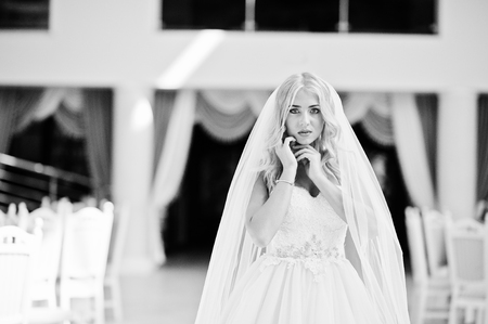 rubia ojos azules: Close up portrait of elegant blonde blue eyes fashion bride at great wedding hall Foto de archivo