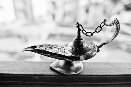 Aladdin oil lamp east design with egypt texture Stock Photo