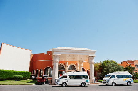 panel van: Hurghada, Egypt -20 August 2016: El Nakhil Limousine cars bus at luxury resort Caribbean World Soma Bay