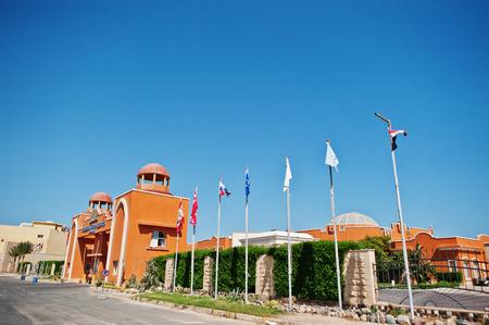 sunshade: Hurghada, Egypt -20 August 2016: Luxury resort Caribbean World Soma Bay