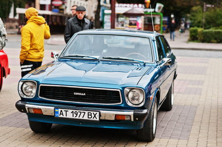 Tarnopol, Ukraine - October 09, 2016: Classic retro car Corolla E30 liftback was the third generation of cars sold by Toyota under the Corolla nameplate, produced 1974-1981