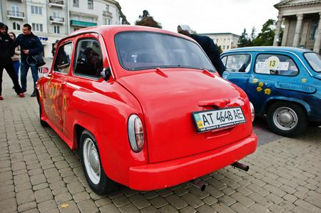 display machine: Tarnopol, Ukraine - October 09, 2016: Classic retro car ZAZ Zaporozhets 965 designed and built from 1960-1963 Editorial