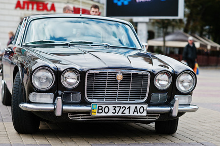 Tarnopol, Ukraine - October 09, 2016: Classic retro car Jaguar XJ6 Series, luxury cars sold by the British automobile brand, Jaguar Cars, with the first model released in 1968 Editorial