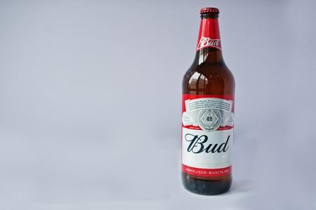 Hai, Ukraine - October 15, 2016: Beer bottle of Bud, kings of the beer isolated on violet background