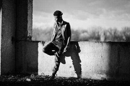 Black afroamerican man gangsta rap singer. Black and white photo Stock Photo